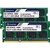 Timetec 16GB KIT(2x8GB) DDR3L / DDR3 1600MHz PC3L-12800 / PC3-12800 Non-ECC Unbuffered 1.35V / 1.5V CL11 2Rx8 Dual Rank 204 P