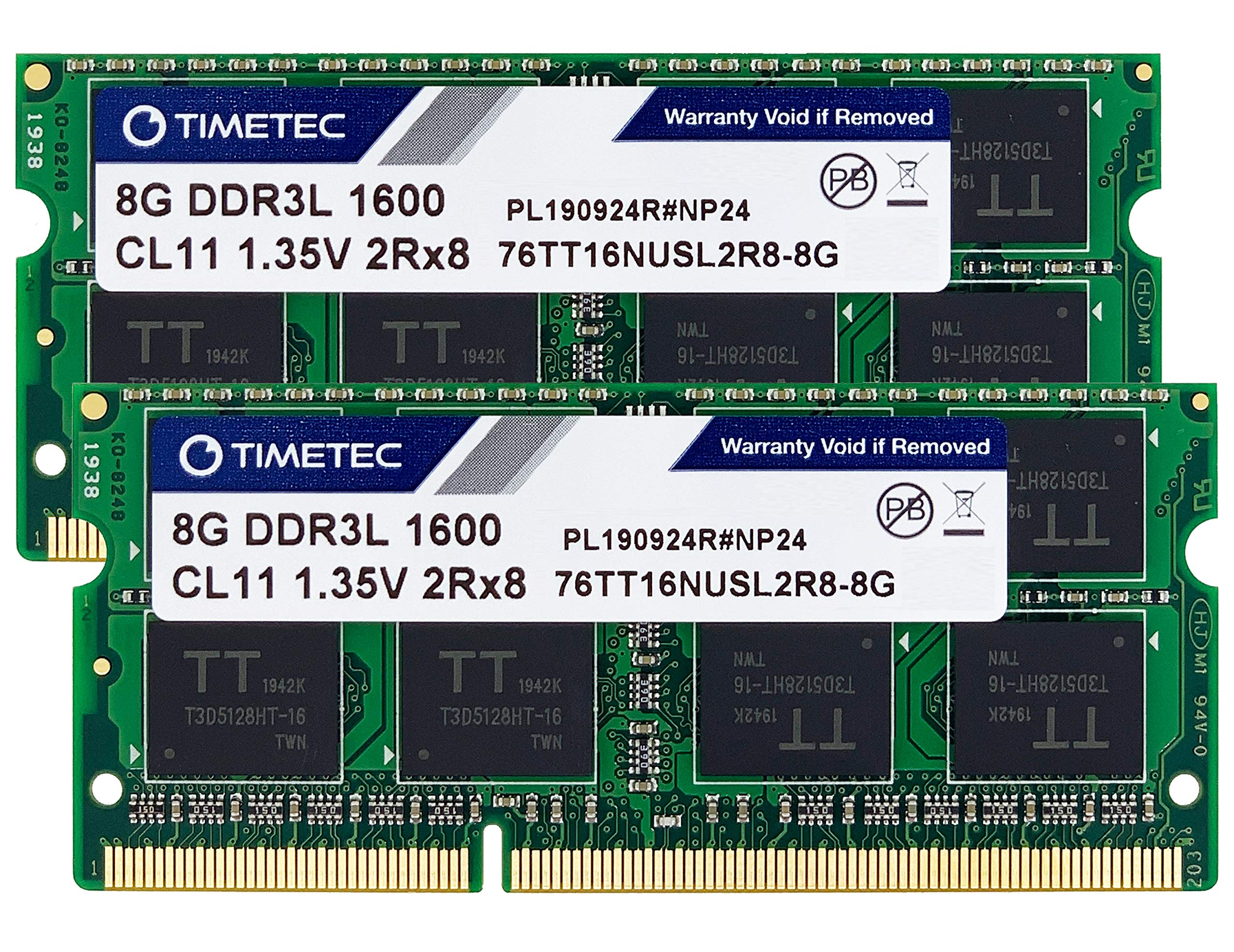 Timetec 16GB KIT(2x8GB) DDR3L / DDR3 1600MHz PC3L-12800 / PC3-12800 Non-ECC Unbuffered 1.35V / 1.5V CL11 2Rx8 Dual Rank 204 Pin SODIMM Laptop Notebook Computer Memory RAM Module Upgrade