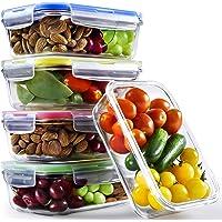 Chef Fresh Packs Glasbehälter Set mit Deckel (4er Pack) 3-Kammer-Behälter aus Glas mit Soßenbehältern, Etiketten | perfekt ALS Lunchboxen, Vorratsbehälter für Ofen, Mikrowelle, Gefrierschrank