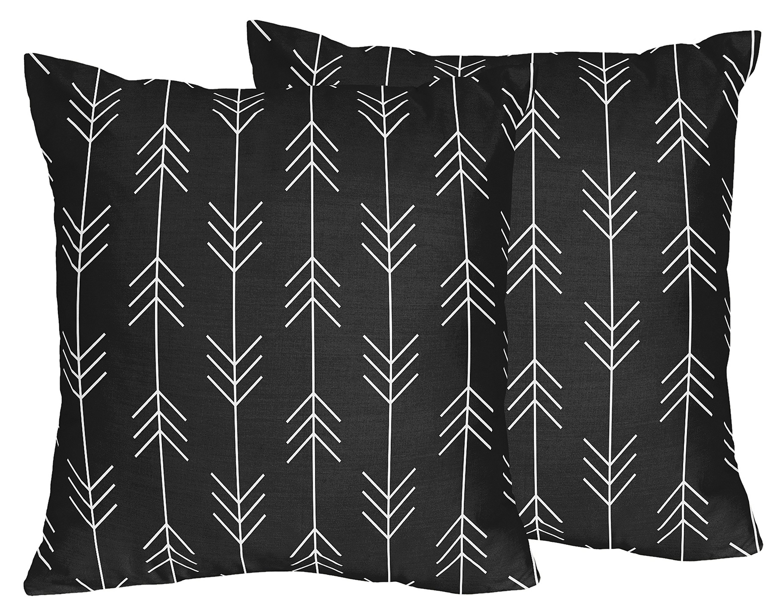 Sweet Jojo Designs Black and White Woodland Arrow Decorative Accent Throw Pillows for Rustic Patch Collection - Set of 2 by Sweet Jojo Designs