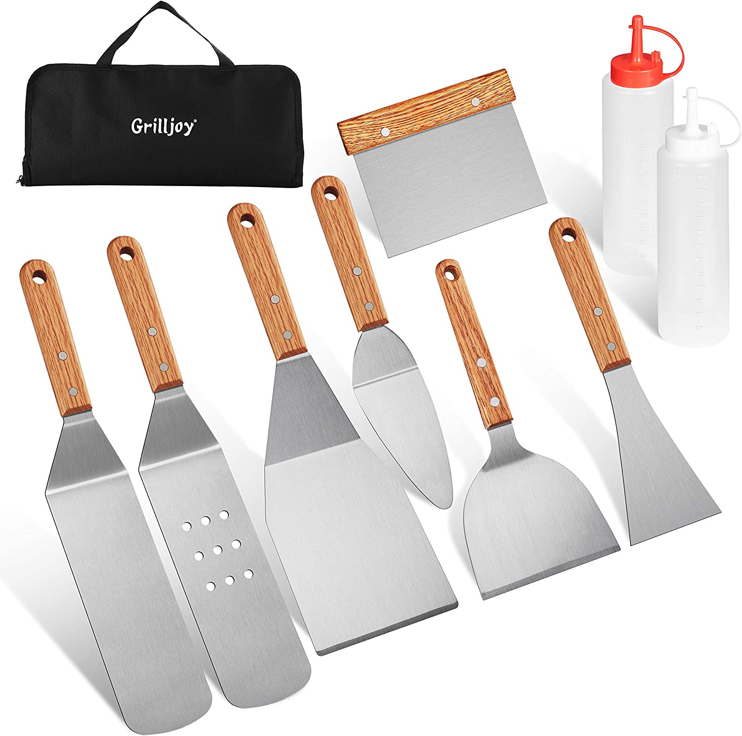 grilljoy 10PC Professional Griddle Spatula Set-Food Grade Stainless Steel Breakfast Kit-Grill Griddle Set for Flat Top Outdoor Cooking - Ideal