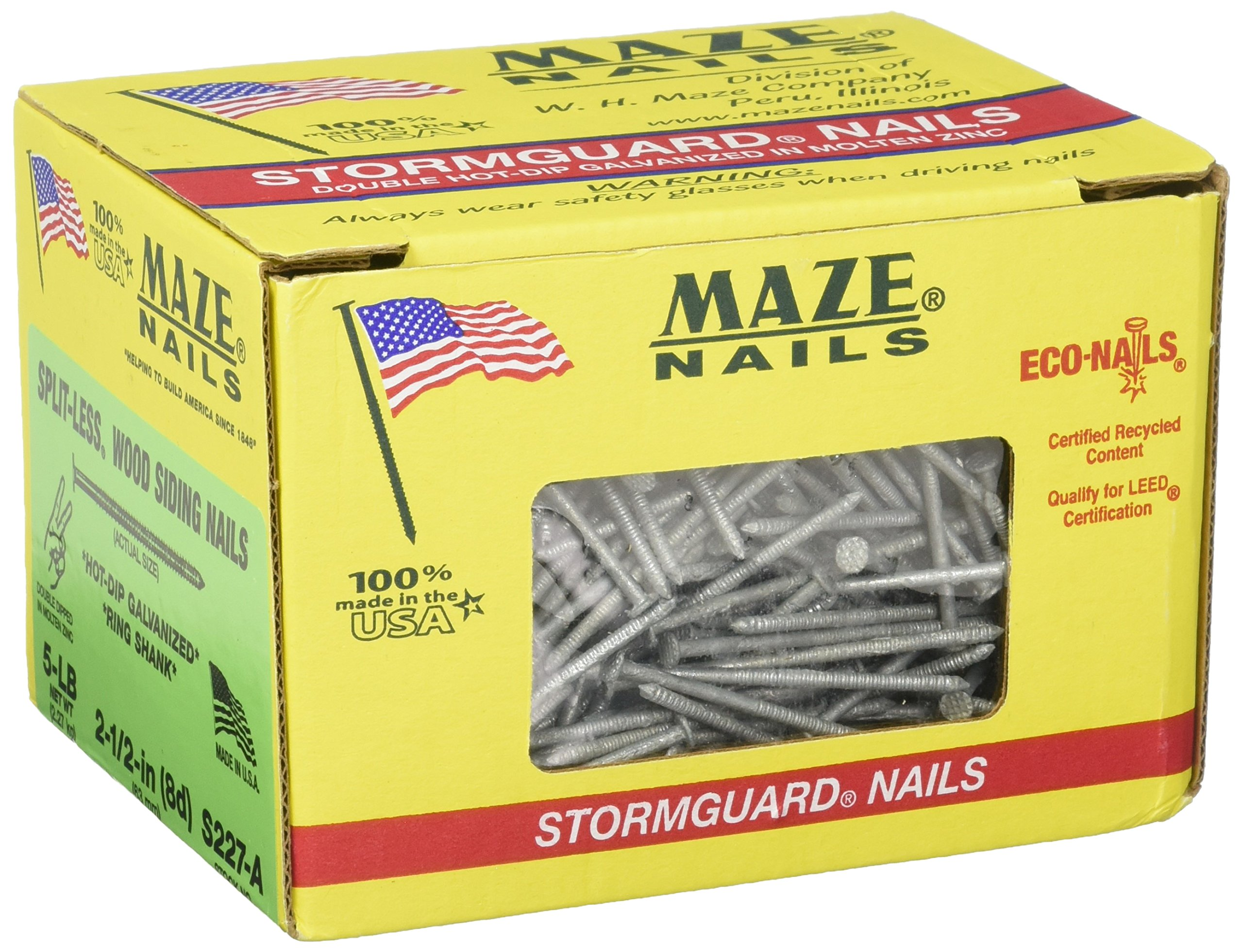 MAZE NAILS S227A-5 Double Hot Dipped Ring Shank Split Less Siding Nail, 5-Pound 8D 2-1/2-Inch