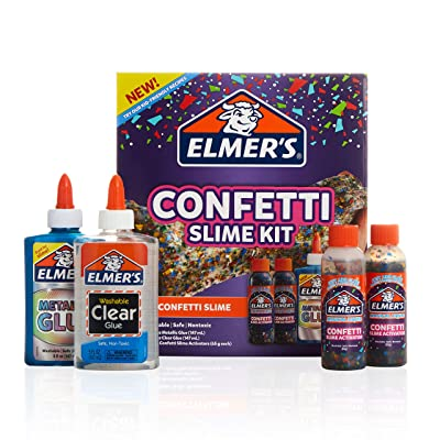 Elmer's Confetti Slime Kit | Slime Supplies Include Metallic Glue, Clear Glue, Confetti Magical Liquid Slime Activator, 4 Count: Office Products