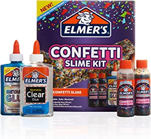 Elmer's Confetti Slime Kit | Slime Supplies Include Metallic Glue, Clear Glue, Confetti Magical Liquid Slime Activator, 4 Count