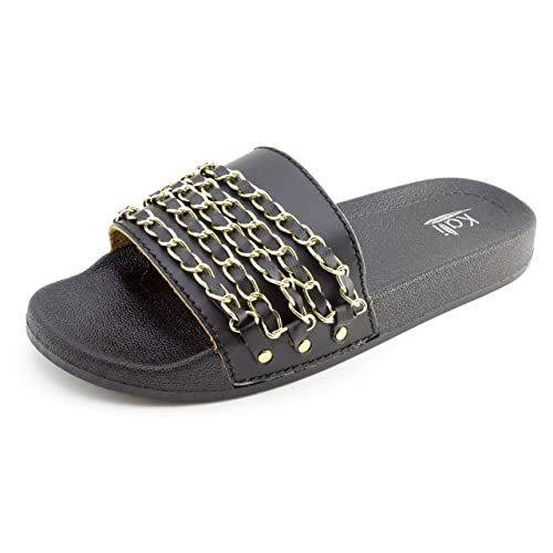 bc9a63d3bdc3 Kali Womens Wide Single Chain Band Slip On Slide Sandals (Black