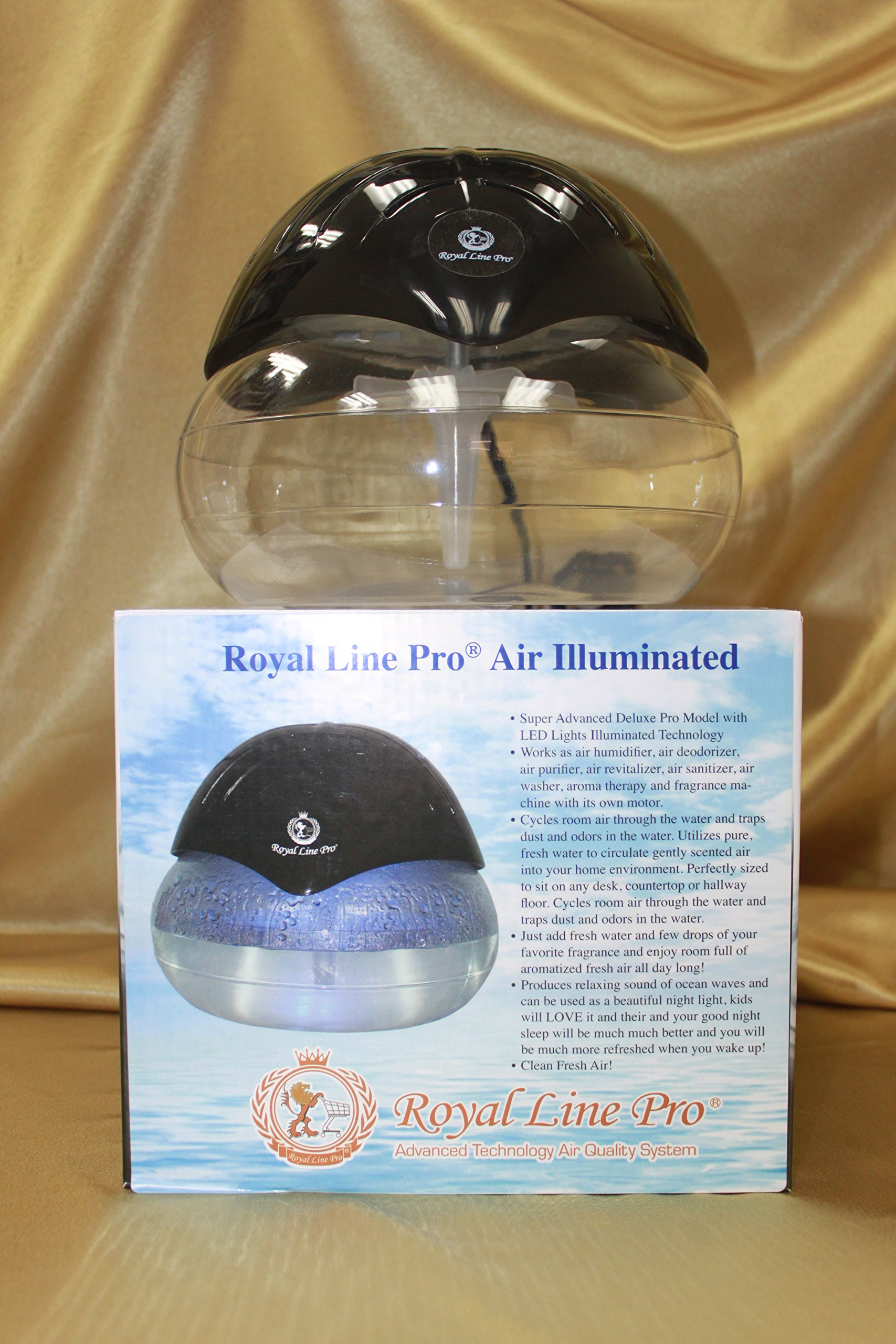 Royal Line Pro (R) Deluxe Illuminated LARGEST SIZE Air Purifier Humidifier Revitalizer Cleaner Fragrance Dispenser Aroma Therapy Machine! Beautiful BLACK with LED Lights! Pro Model! Largest Size in its class!!!