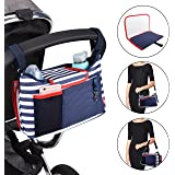Stroller Pram Buggy Organizer Storage Bag, Safe&Care 2 in 1 Waterproof Universal Fit Storage Bag Bonus A Removable Baby Diaper Changing Pad, 2 Cup Holders, Large Pushchair Organizer for iPhone, Diapers, Toys and Accessories, Navy & White Stripe
