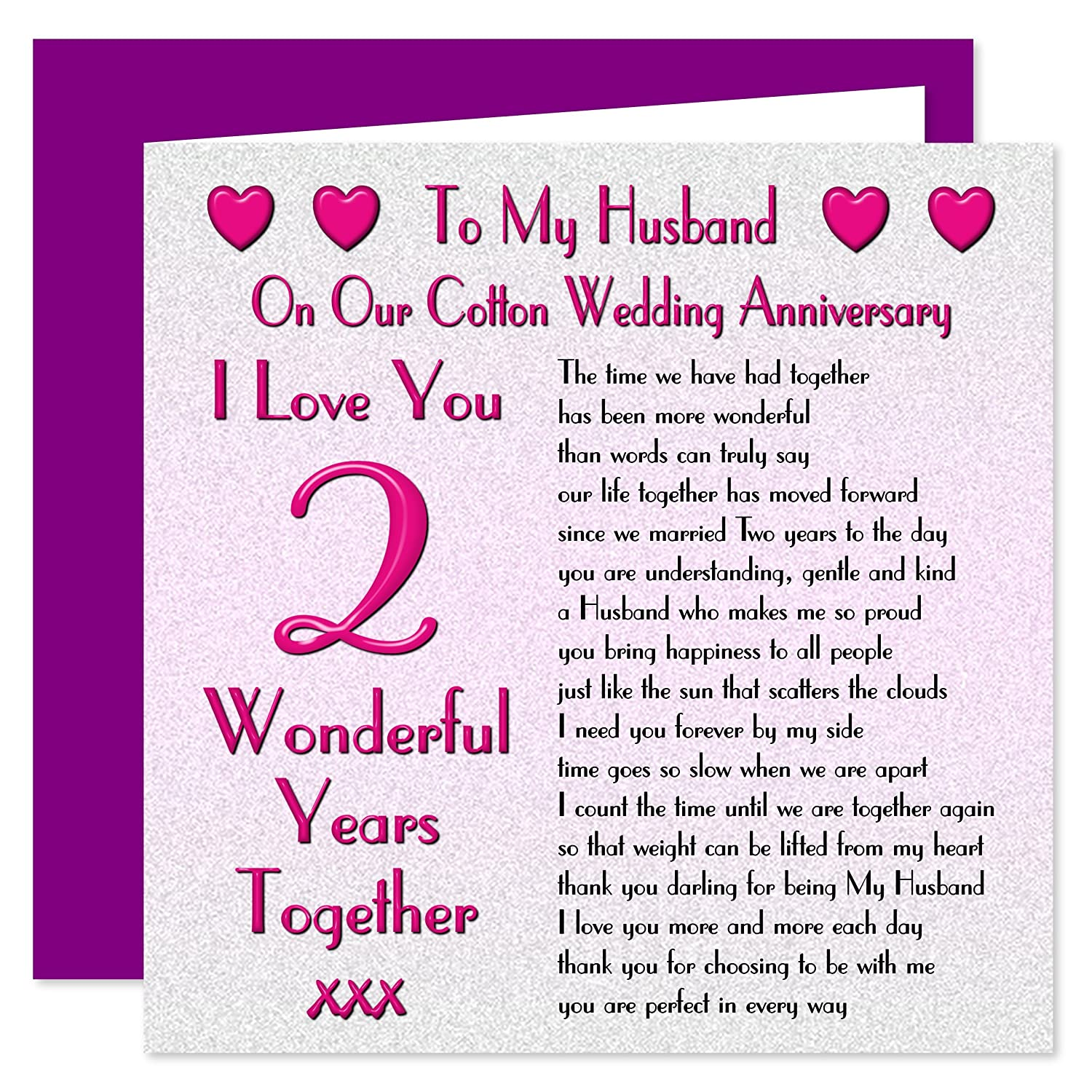 My Husband 2nd Wedding Anniversary Card - On Our Cotton Anniversary ...
