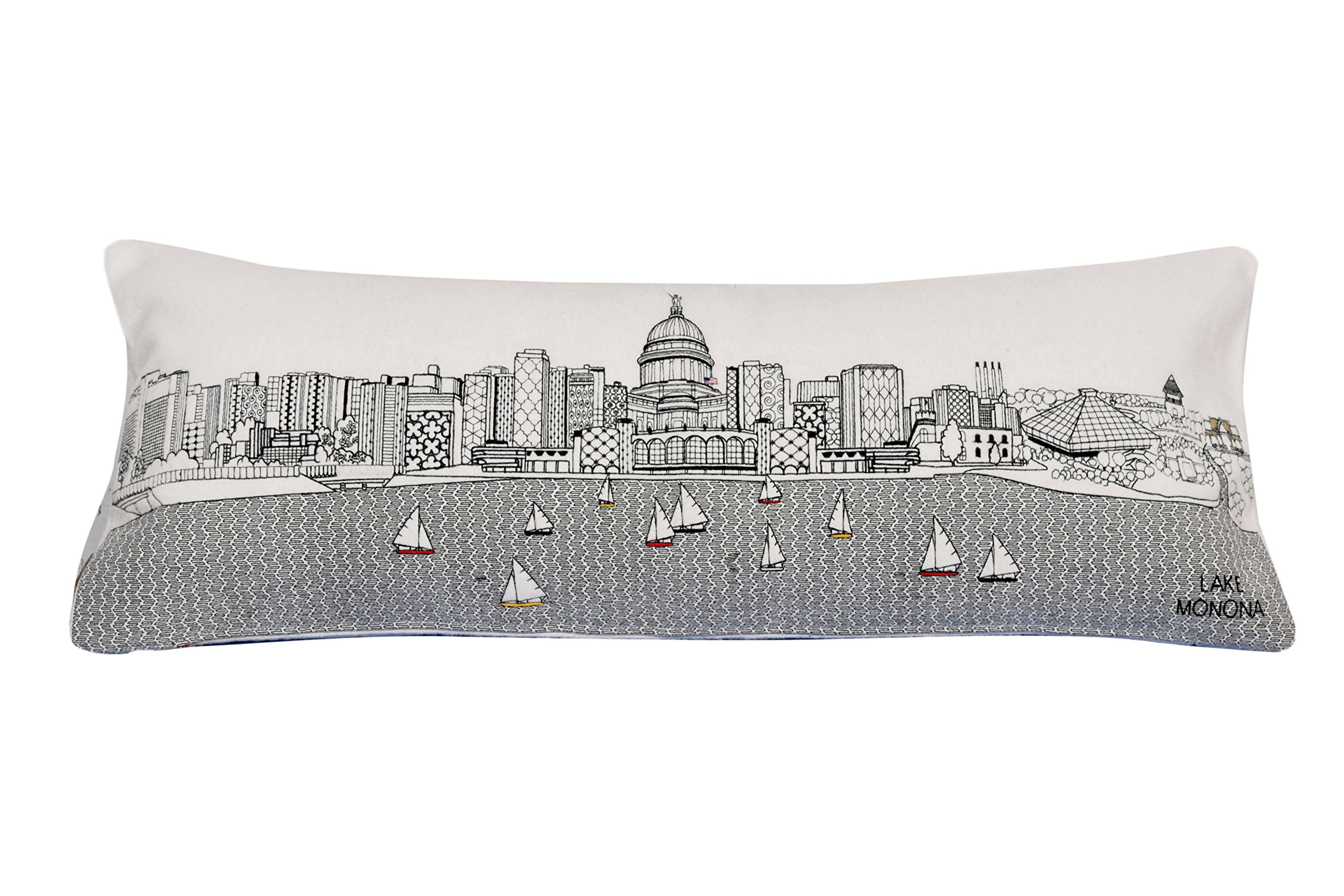 Beyond Cushions Polyester Throw Pillows Beyond Cushions Madison Wisconsin Daytime Skyline Queen Size Embroidered Pillow 35 X 14 X 5 Inches Off-White Model # MAD-DAY-QUN