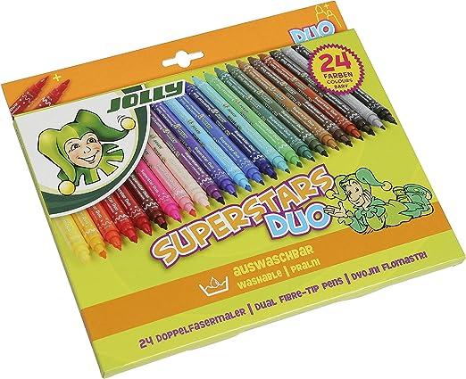 JOLLY rotuladores – Rotuladores – Lápices de Colores – Fineliner Superstar Duo 24 Unidades, Estuche de cartón: Amazon.es: Juguetes y juegos