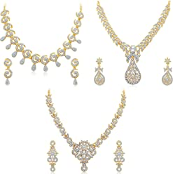 Sukkhi Golden Brass Choker Necklace Set Combo For Women