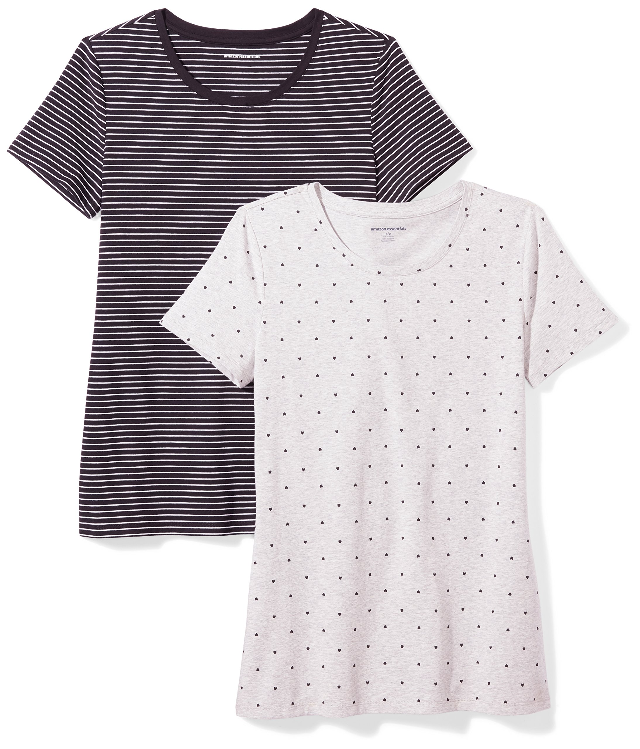 Amazon Essentials Women's 2-Pack Short-Sleeve Crewneck Patterned T-Shirt, Black Stripe/Heart Print, Large