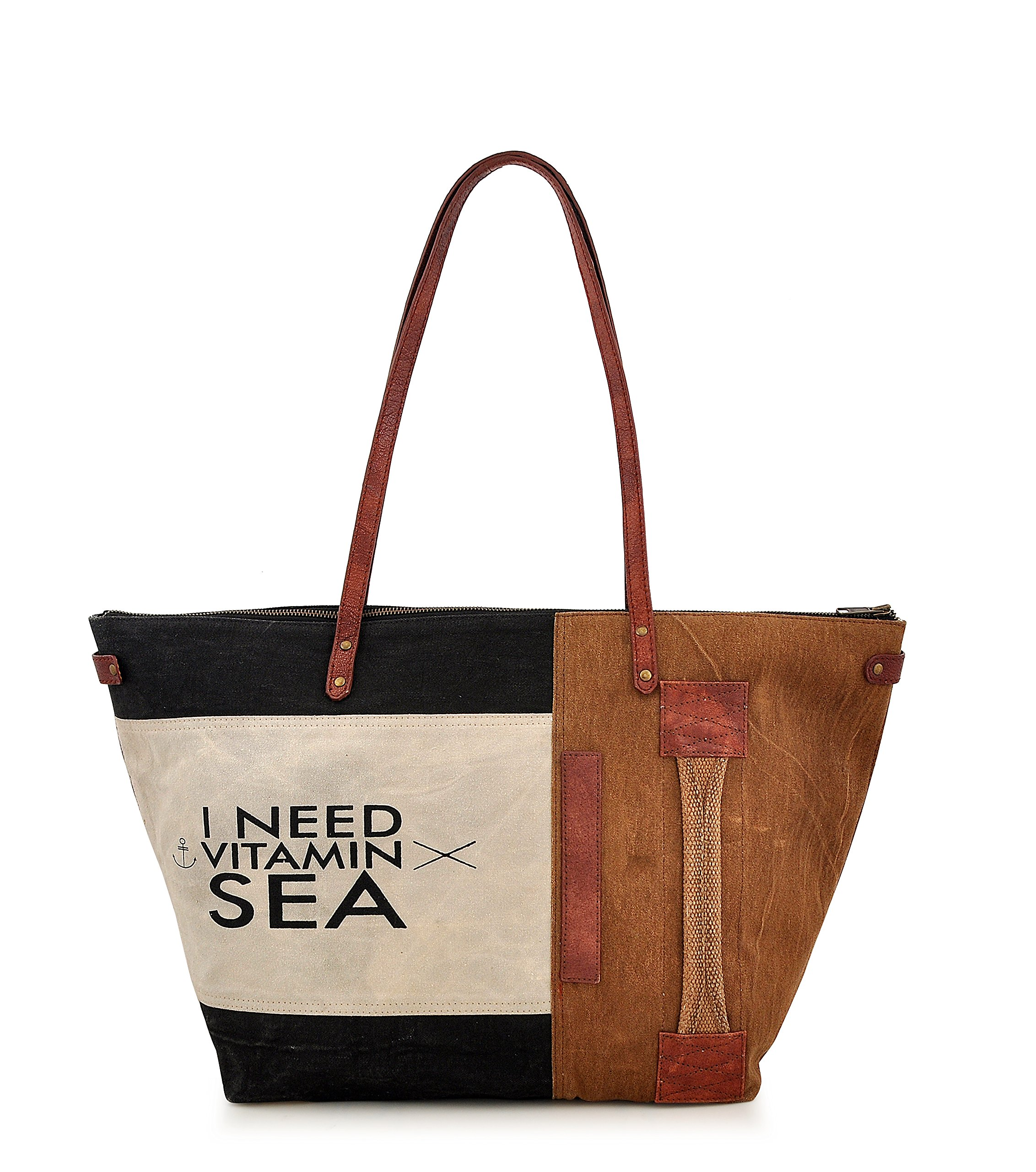 Tote bag for Women, Unique Design, Made of Canvas and Leather, Eco friendly bag, Handbags for Women by Daphne (Vitamin Sea)
