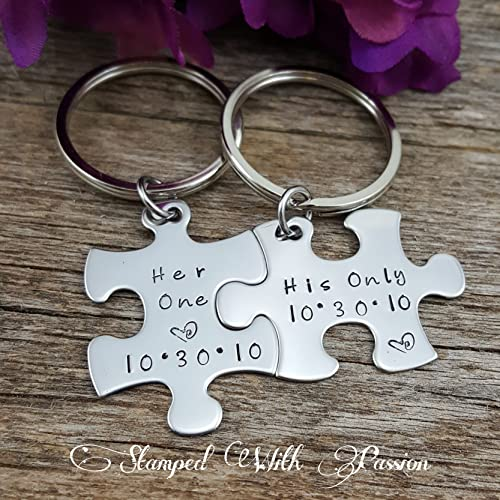 amazon com his and hers puzzle piece keychain set valentines gift