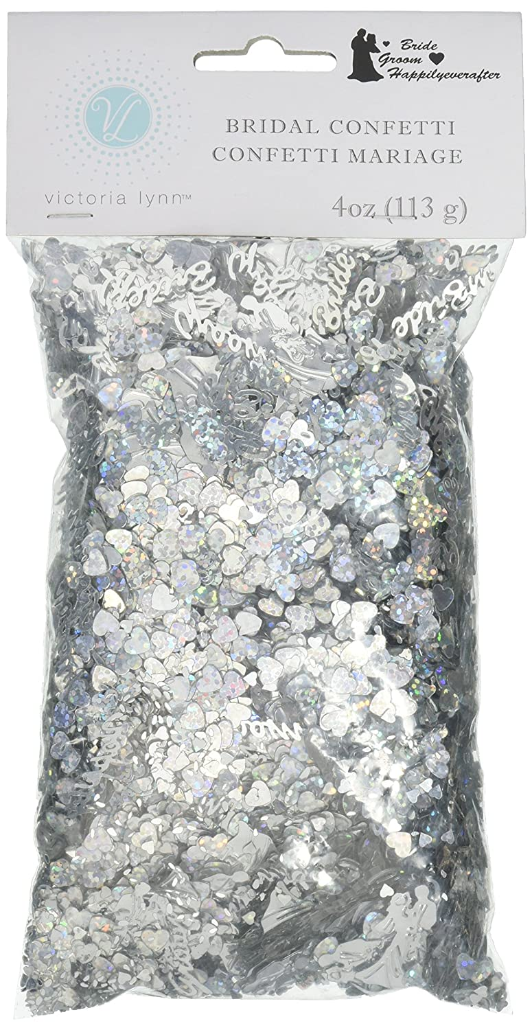 Darice VL84 Happily Ever After Bridal Confetti Silver 4-Ounce