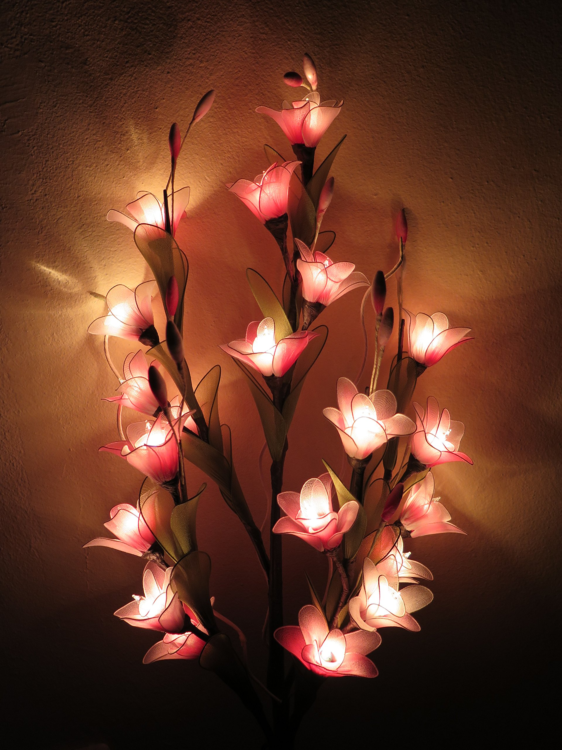 silk flower arrangements thai orchid artificial flowers lamps, vase/floor/table lamps, night light, wedding lighting, home decor, gift, made by nylon, paper, fabric, 20 light bulbs, 33 inch