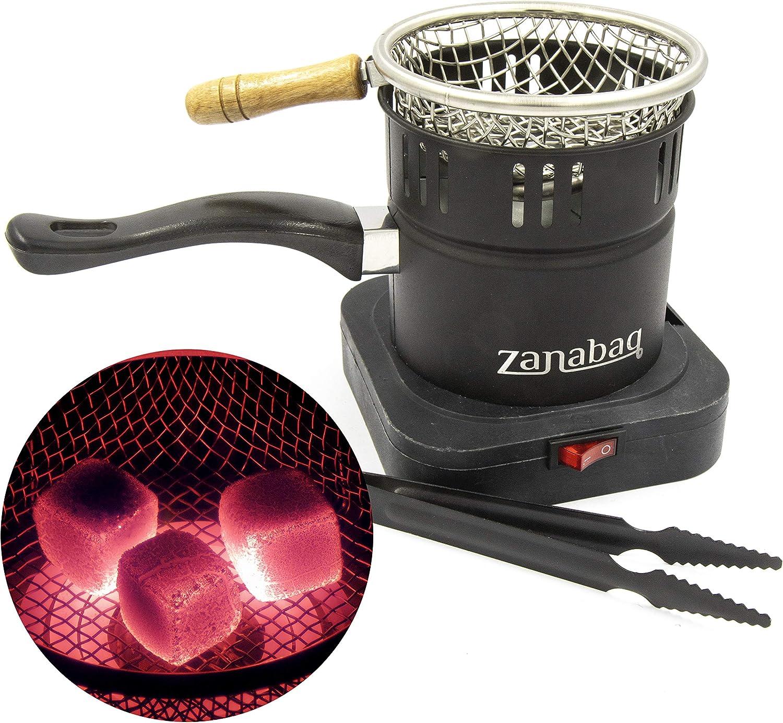 Zanabaq - Hornillo Eléctrico Cachimba Shisha – Cocina Hornillo Electrico con canasta de carbón, incluye pinzas - encender rápidamente el carbón