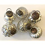 """6 Silver Glass Mercury Christmas Tree 2.5"""" Ornaments - Vintage Look Includes 6 Matching Swirl Hangers - Perfect Hostess or Secret Santa Gift"""