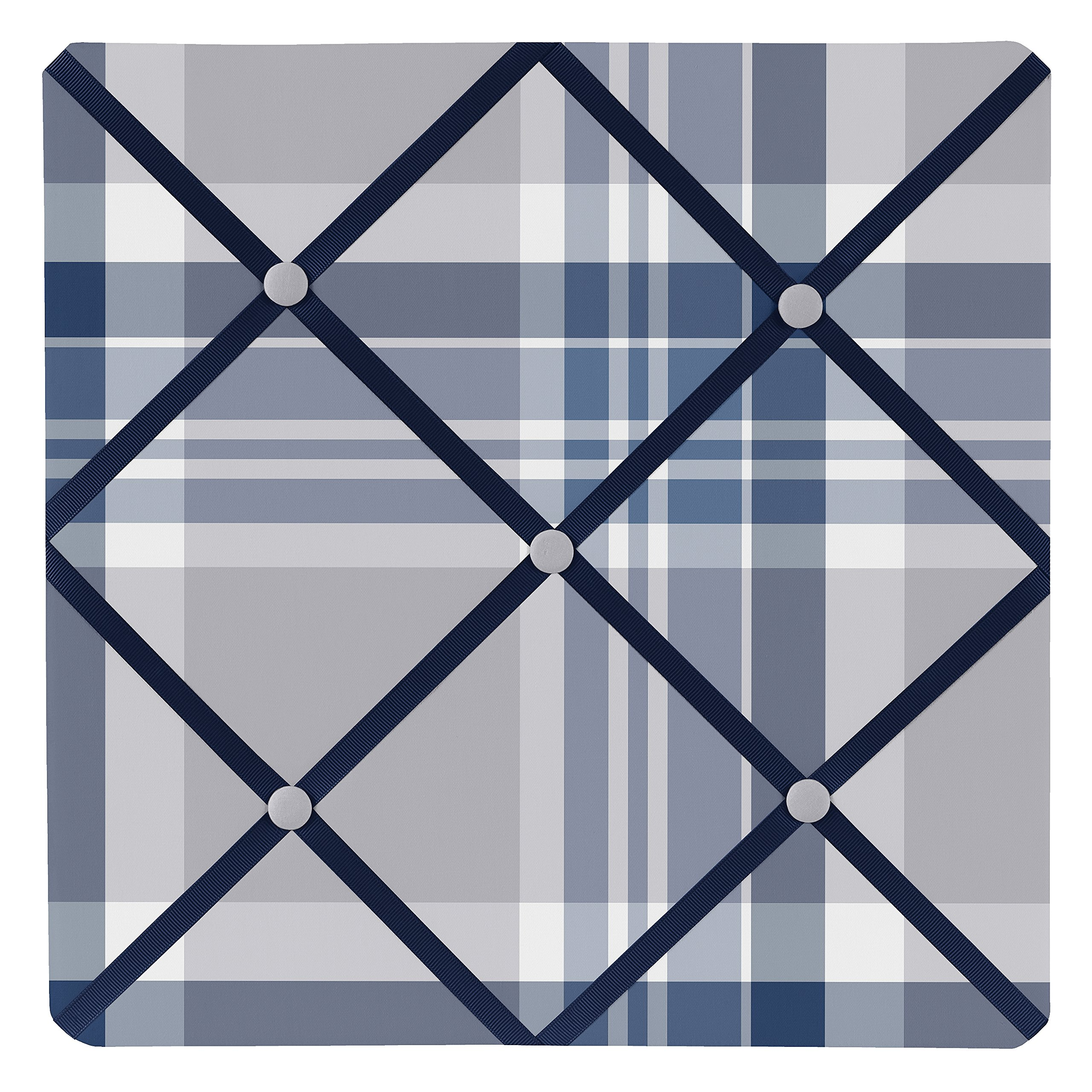 Sweet Jojo Designs Fabric Memory/Memo Photo Bulletin Board for Navy Blue and Gray Plaid Collection