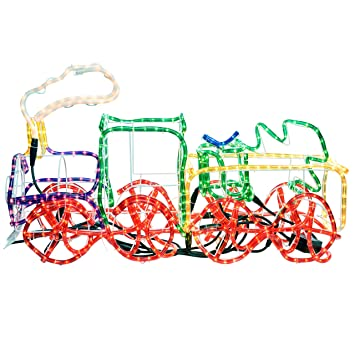 Werchristmas 95 cm large 3d train with flashing wheel and smoke rope werchristmas 95 cm large 3d train with flashing wheel and smoke rope lights silhouette outdoor garden aloadofball Images
