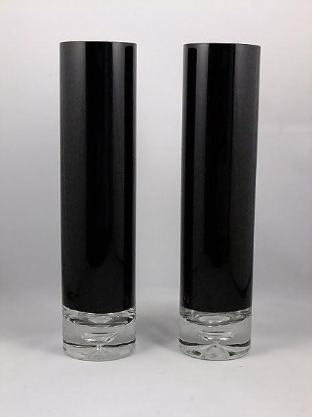 2x High Gloss Jet Black Tall Slim Glass Cylinder Vases 25cm H