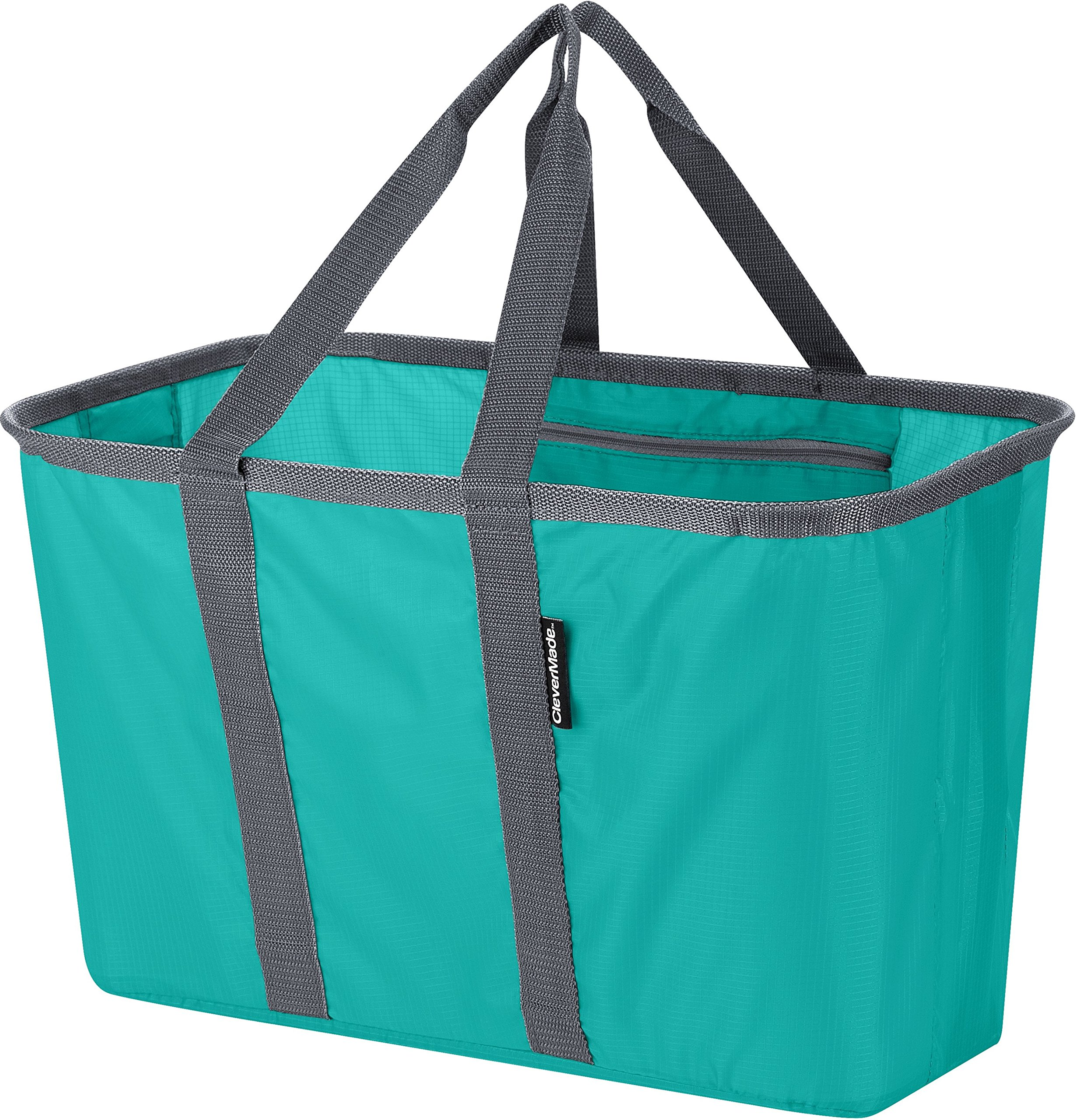 CleverMade Snapbasket 30 Liter Reusable Tote Bag with Reinforced Bottom: Collapsible Grocery Shopping Basket, Teal/Charcoal