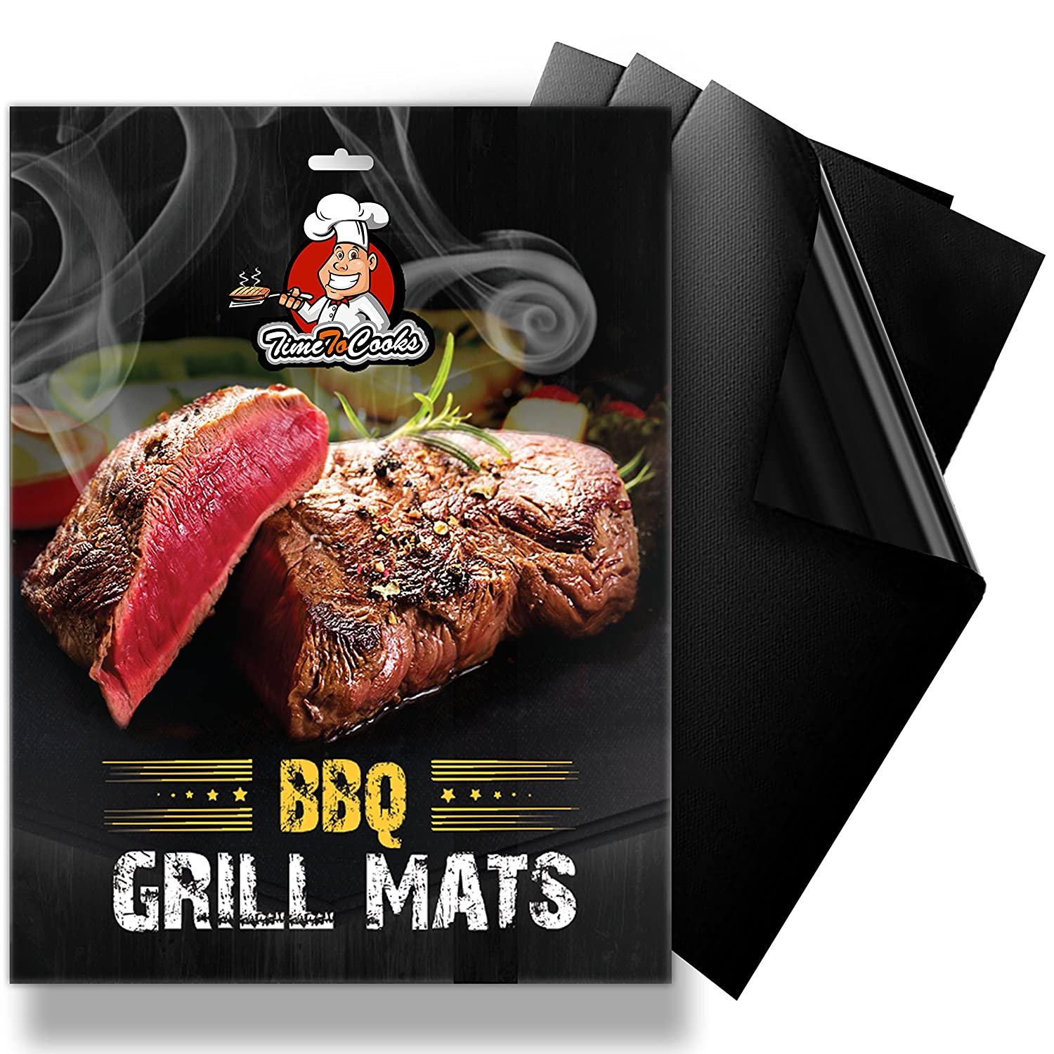 BBQ Grill Mat Set – 3 Black Grilling Mats with non-stick & non-toxic coating - work on charcoal, electric, gas, propane grill