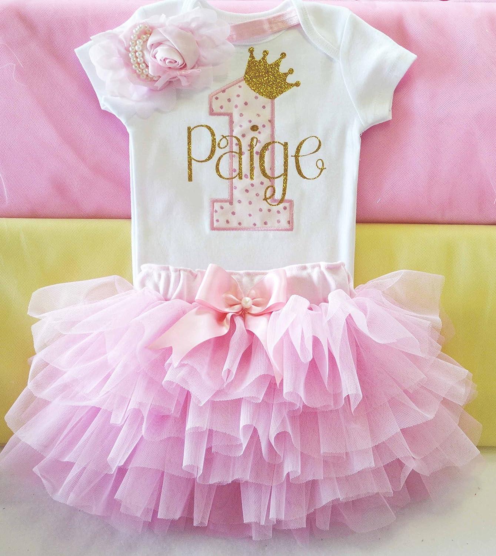 Amazon First Birthday Outfit Girlpink And Gold 1st Dressprincess Tutucake Smash Girlcustomized Tutu For Girl