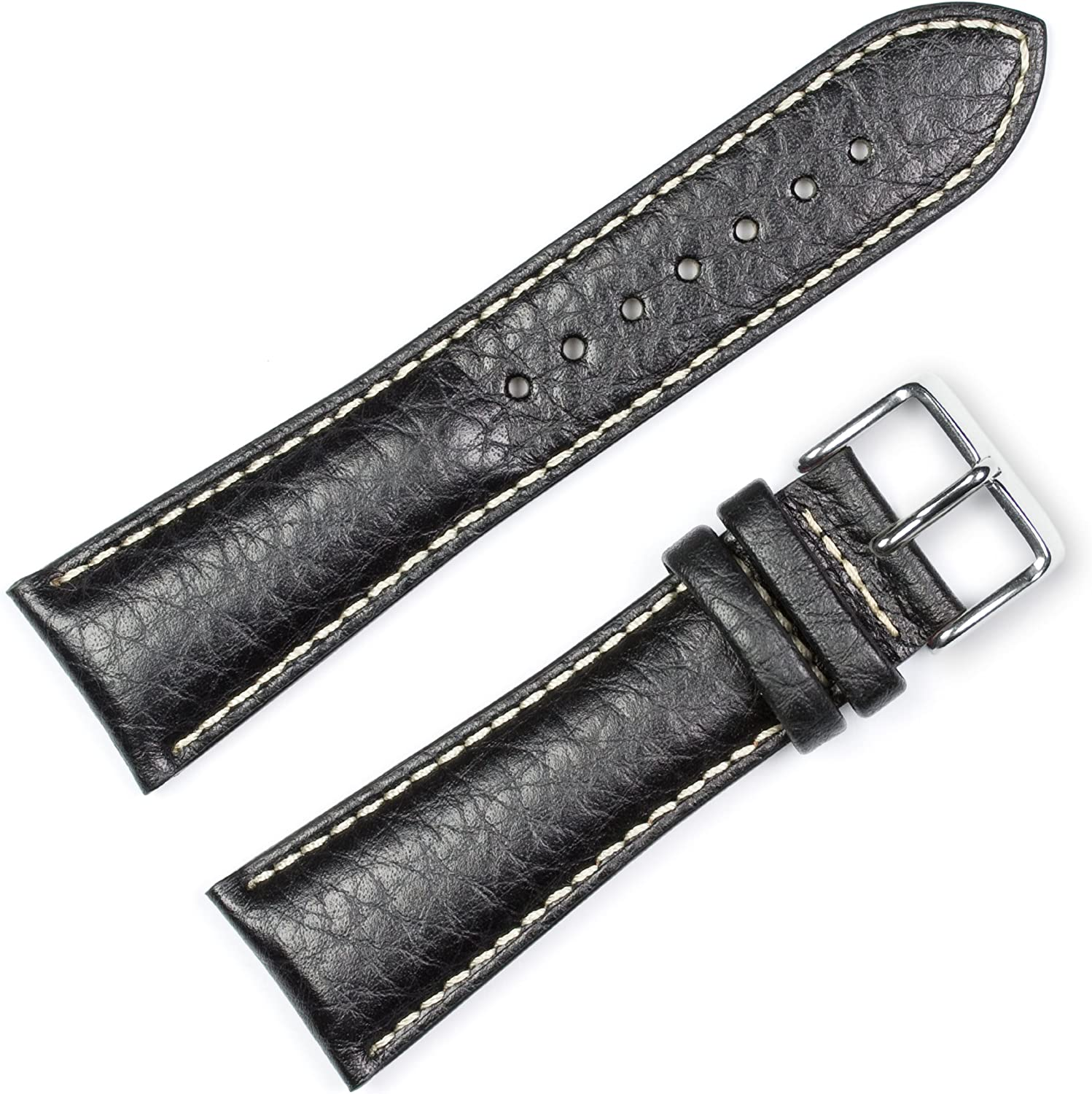 Sport Leather Watch Band - Choice of Color - (Black, Brown, Havana) & Width - (12, 14, 16, 17, 18, 19, 20, 22, 24, 26, 28mm)