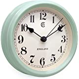 JCC 8.5 inch Elegant Decorative Arabic Numbers Round Retro Non Ticking Silent Quartz Analog Wall clock with Polished Metal Bezel, Battery Operated(Retro Light Green)