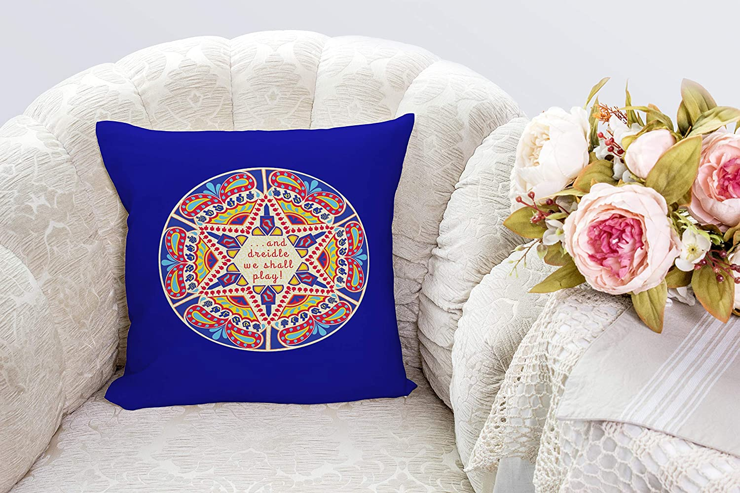Darkchocl Daily Decoration Throw Pillow Covers Hanukkah Chanukah Paisley Dreidle Square Pillowcase Cushion for Couch Sofa or Bed Modern Quality Design Cotton and Polyester 18 x 18