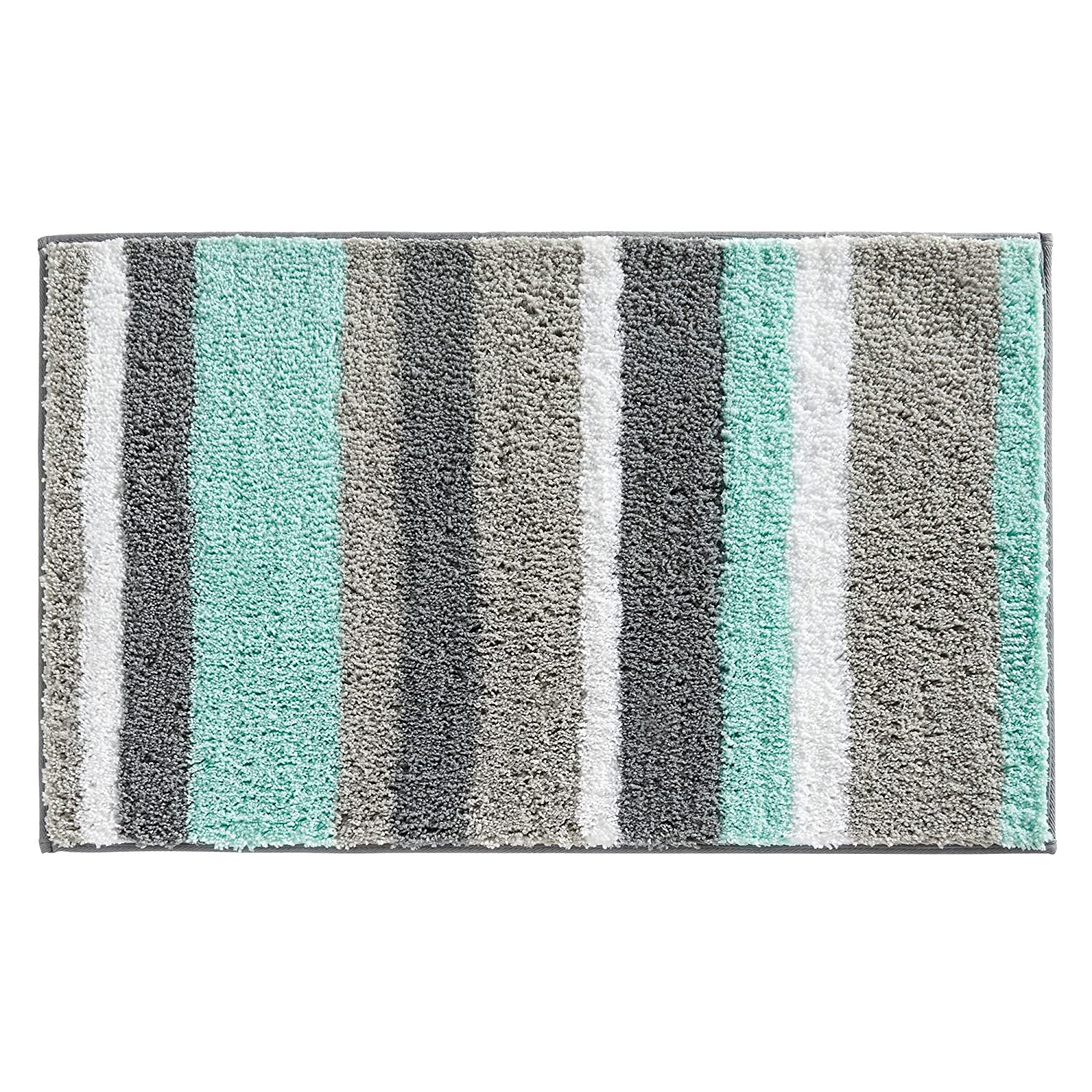 Stripz Bath Rug, Machine Washable Microfiber Accent Rug for Bathroom, Kitchen, Bedroom, Office, Kid's Room