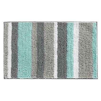 InterDesign Stripz Microfiber Bath Rug, 34 X 21 Inch, Mint/Gray