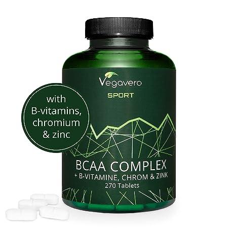 Aminoácidos BCAA Vegavero SPORT® 5000 mg | EL ÚNICO SIN ADITIVOS | 270 Comprimidos | Con Vitaminas B + Cromo + Zinc | Suplemento Aminoácidos ...