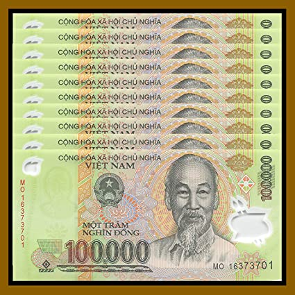Nice1159 10 x 100,000 Dong Vietnam Banknotes = 1 Million Dong Currency VND  - authentic,