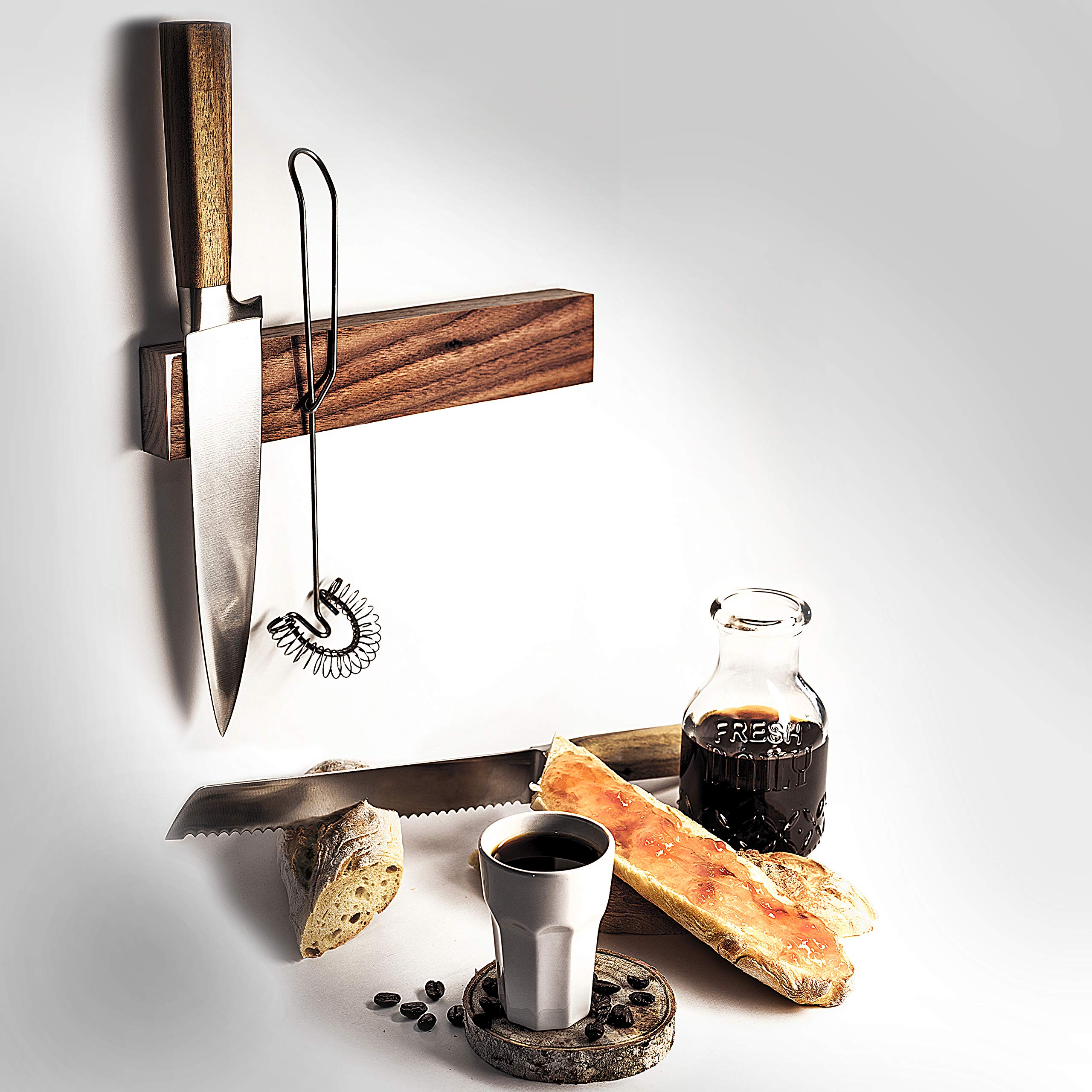 Magnetic Knife Strip Self Adhesive - 10 inch Magnet holder - Utensil Rack for Kitchen or Bar - Wall or Fridge Mount - Walnut Wood - Made in USA by Lure (Image #4)