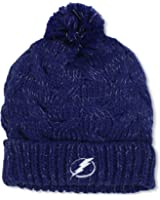 NHL Tampa Bay Lightning Women's Cuffed Knit Hat With Pom, One Size ,Navy