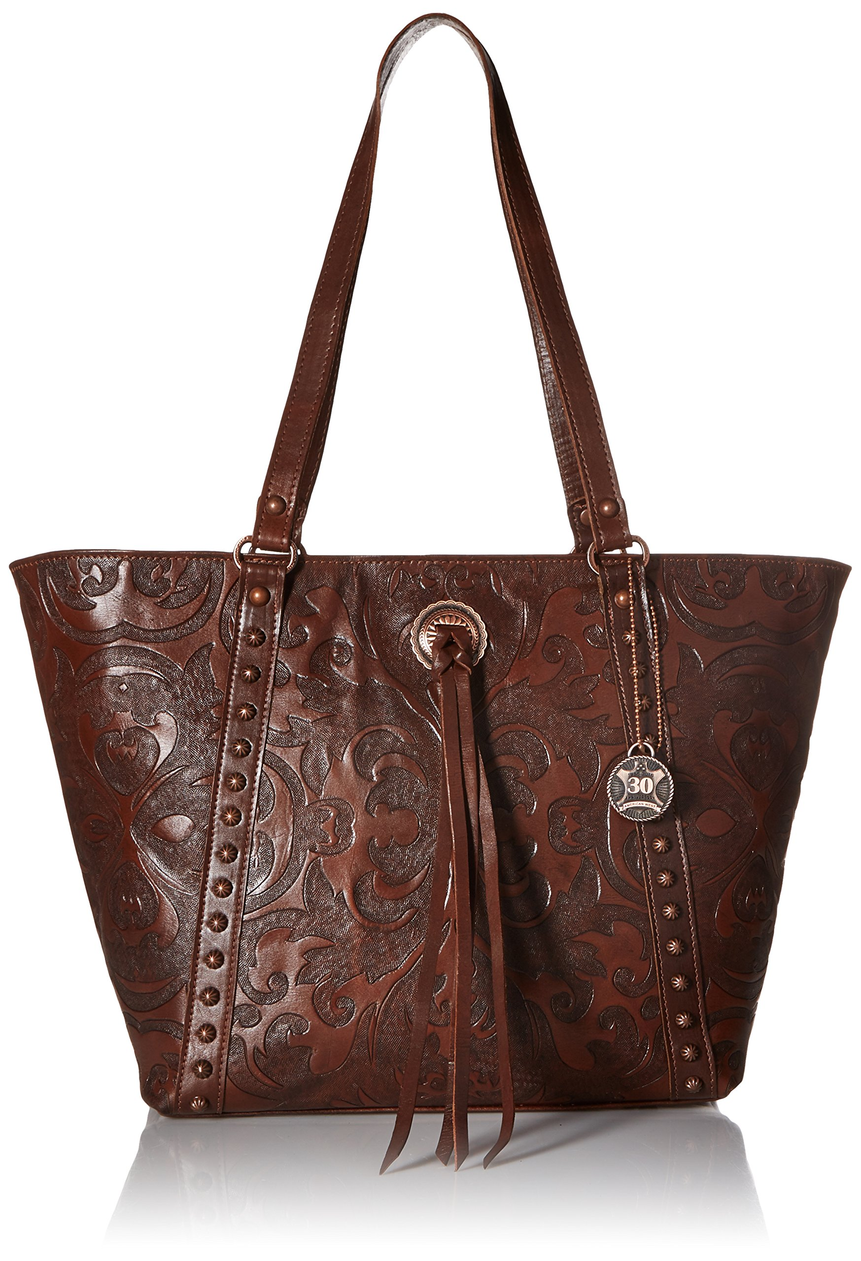 American West Baroque Zip Top Bucket Tote, Chestnut Brown by American West