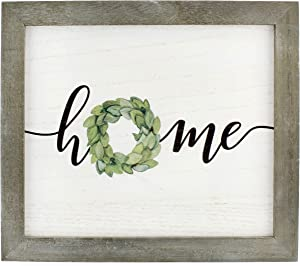 AuldHome Rustic Home Wreath Sign, 10.5 x 12 Inch Farmhouse Style Decorative Wooden Sign
