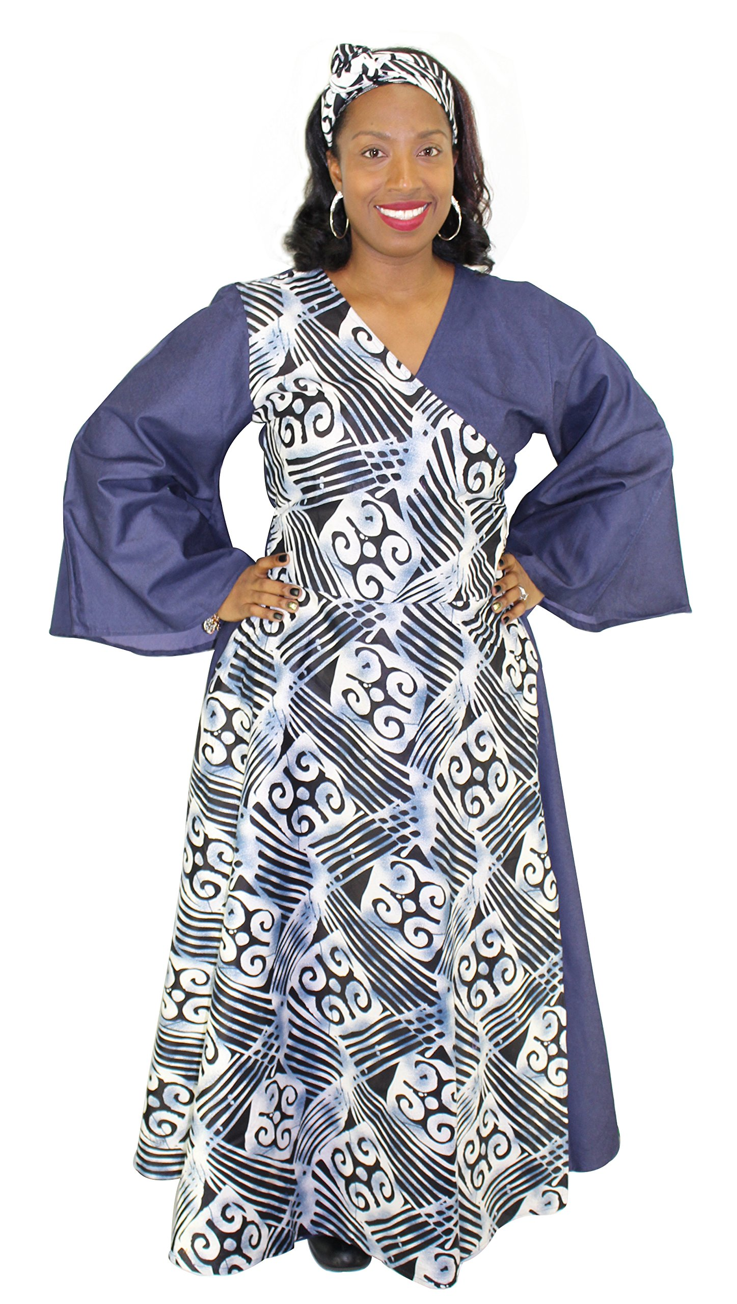 Denim Assorted Print Wrap Maxi Dress with Bell Sleeves (Gray & Blue)