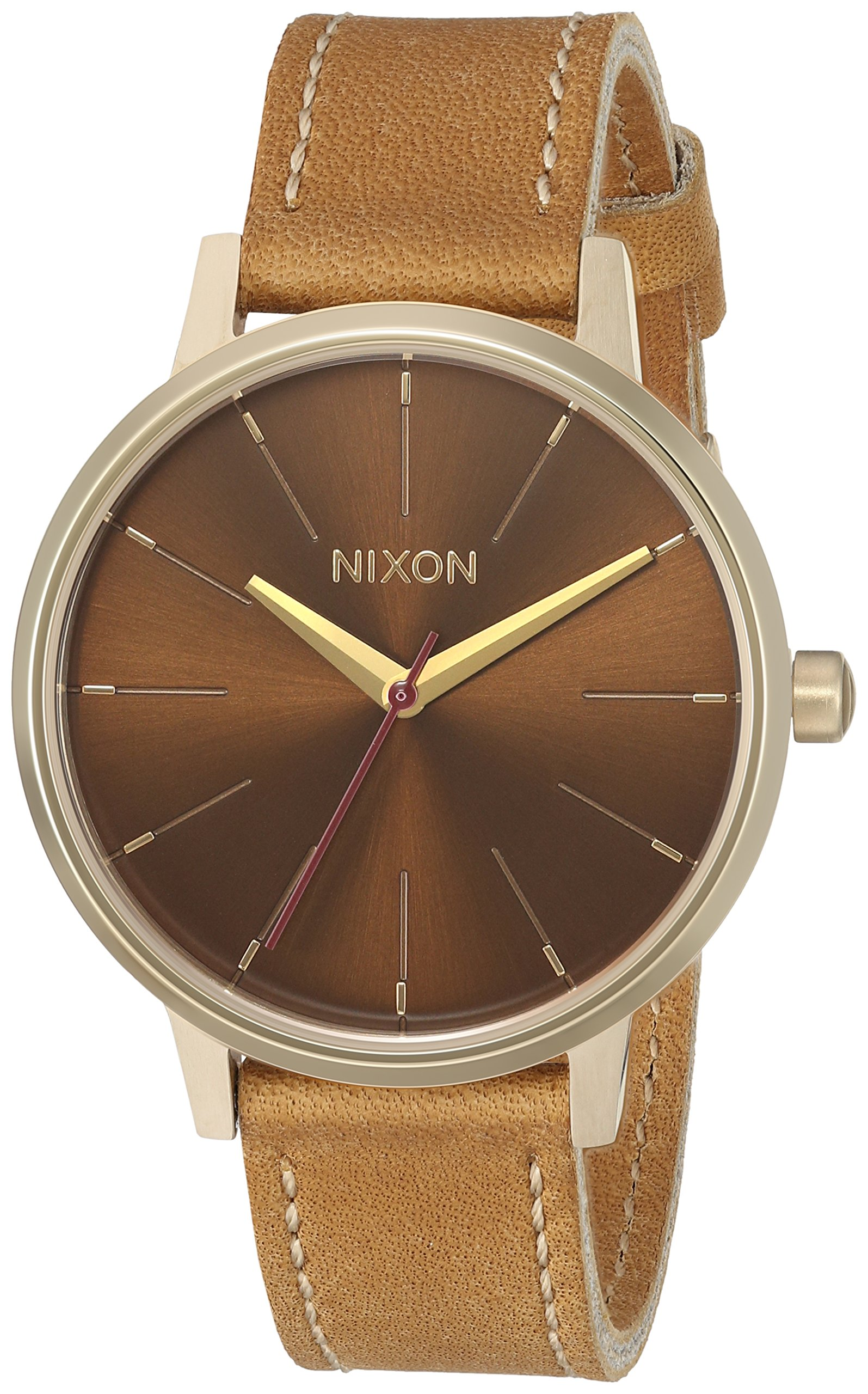 Nixon Women's 'Kensington' Quartz Stainless Steel and Leather Casual Watch, Color:Gold-Toned (Model: A1082804)