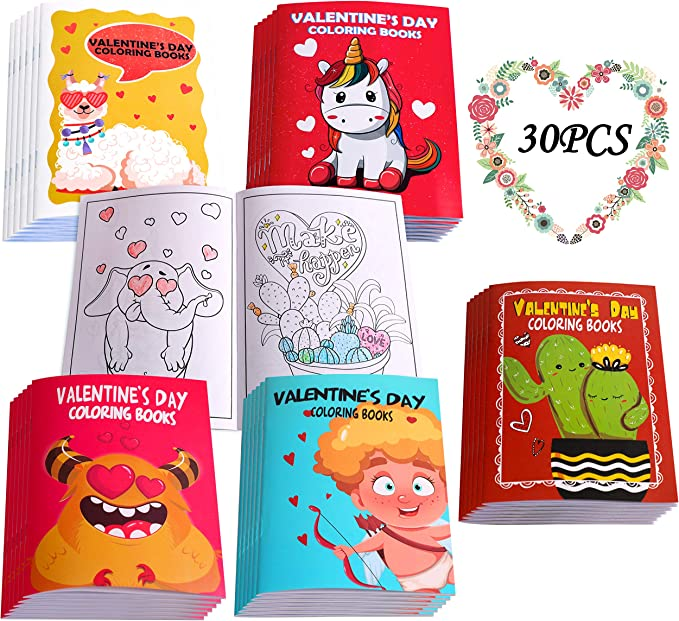 Eternity sky 30PCS Valentines Day Coloring Books for Kids-Valentine's Day Goodie Bag Stuffer Filler Gift School Activity Party Favors Supplies