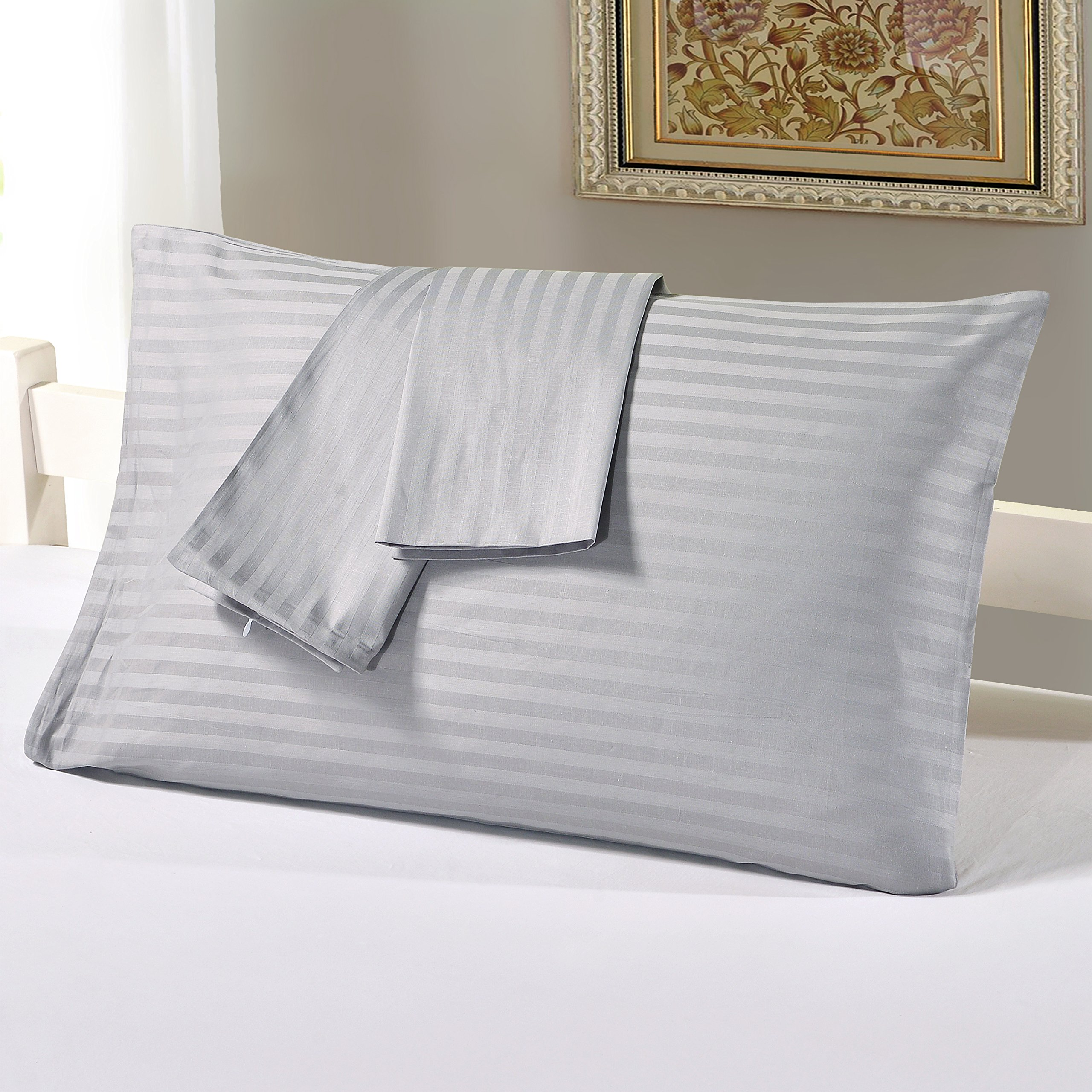 YOUSA Breathable Pillowcases Simple and Durable Pillow Cover with Zipper for Everyday Use Set of 2,Gray,King by YOUSA