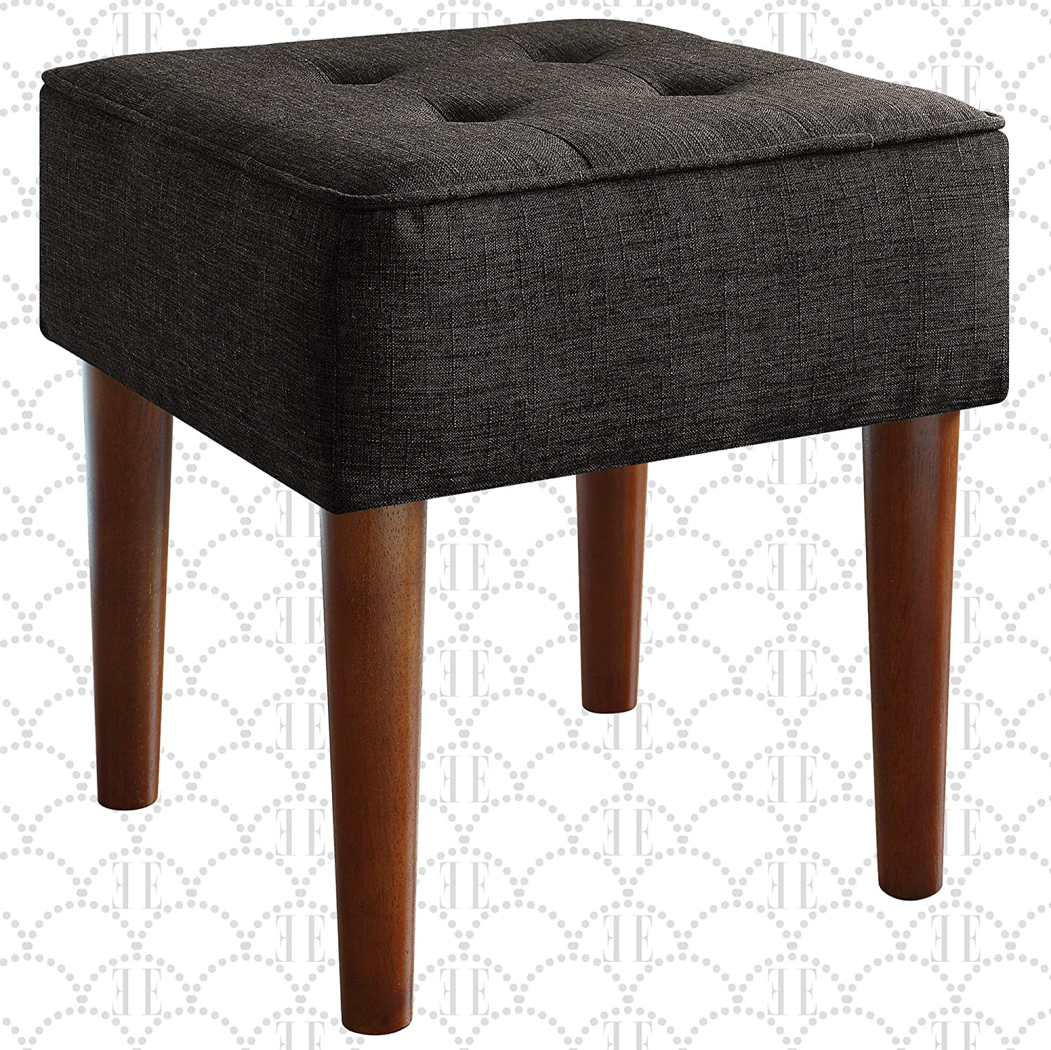 Elle Decor Aria Upholstered Ottoman Food Rest Stool with Classic Button Tufted Style, Extra Seating for Modern Home, Compact Size for Small Space, Gray