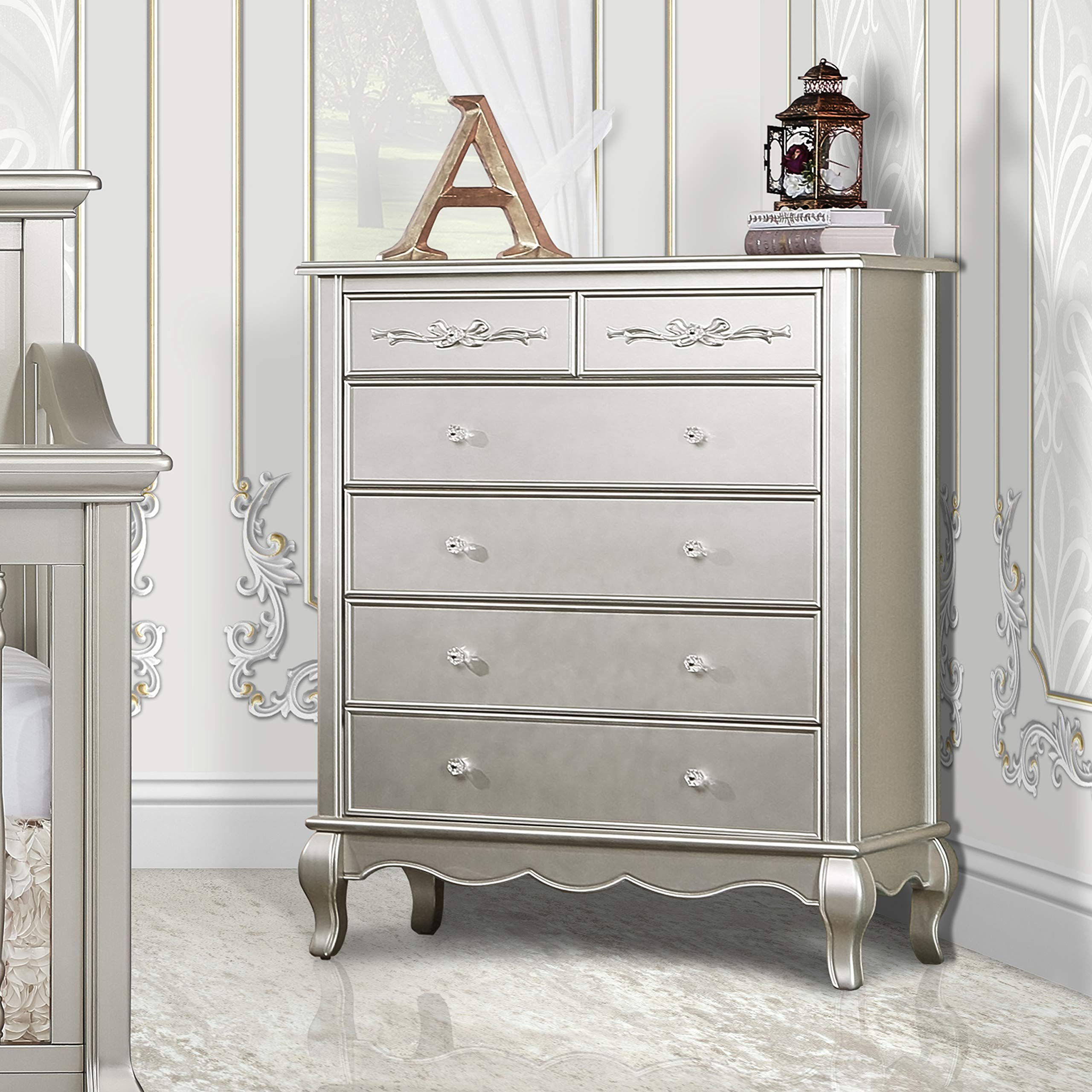 Evolur Aurora 6 Drawer Tall Chest, Metallic Gold Dust by Evolur