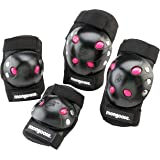 Mongoose Youth BMX Bike Gel Knee and Elbow Pad Set, Multi-Sport Protective Gear, Black/Pink