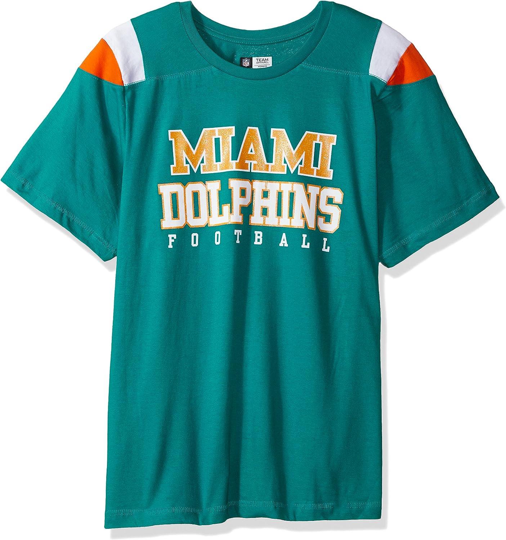 NFL Team Apparel NFL Womens Dolphinss//S Scoop Neck Panel Shoulder