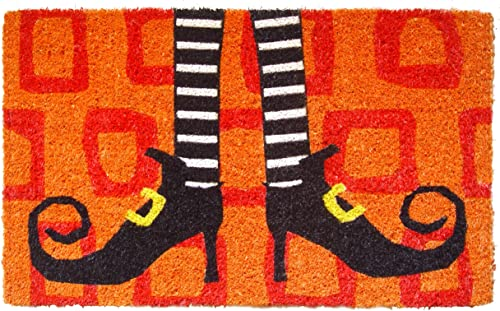Entryways Wicked Witch Shoes Handmade, Hand-Stenciled, All-Natural Coconut Fiber Coir Doormat, 18 X 30 X .75