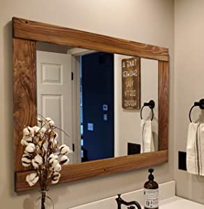Natural Rustic Wood Framed Mirror Available in 4 Sizes and 20 Stain Colors: Shown in Early American - Large Framed Mirror - Home Decor - Reclaimed Rustic Home Decor Mirror - Vanity Mirror