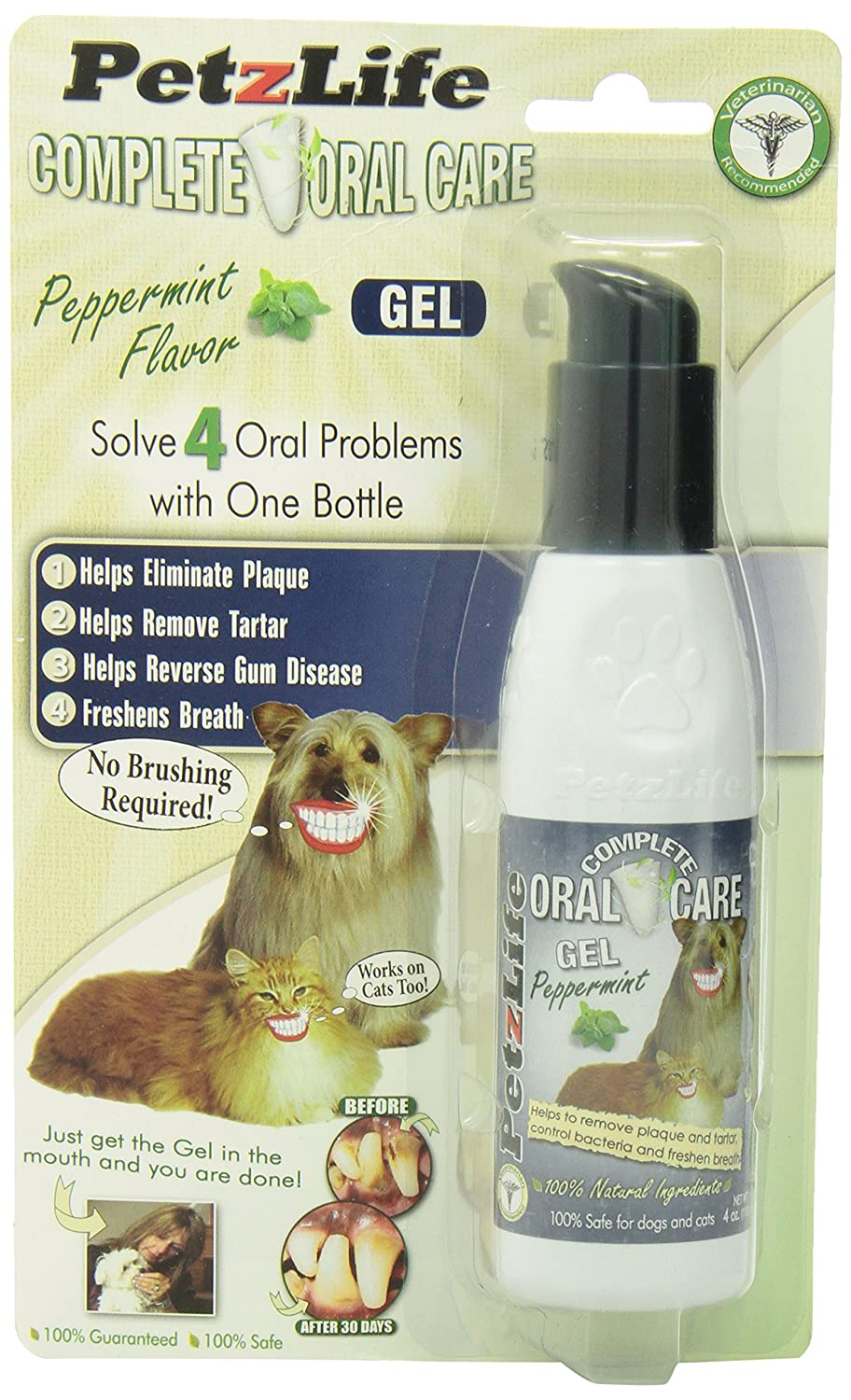 PetzLife 891012 Complete Oral Care Gel Peppermint Blister-Package for Pets, 4-Ounce